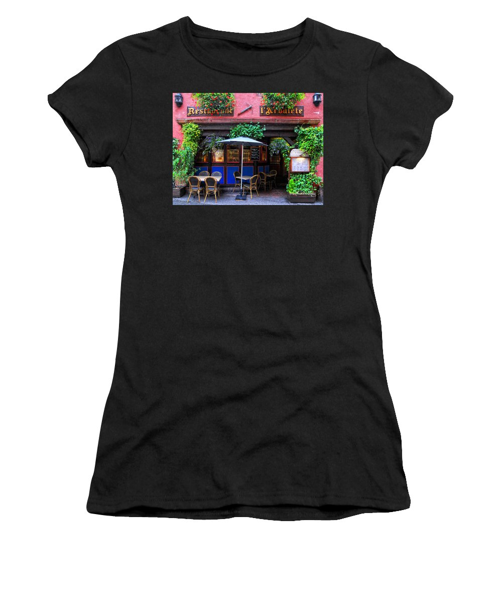 Restaurant Women's T-Shirt featuring the photograph Restaurant L'arbalete by Dave Mills