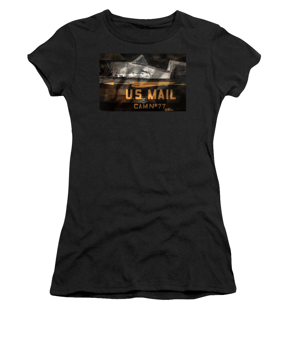 Aircraft Women's T-Shirt (Athletic Fit) featuring the photograph Retired Mail Carrier - Pitcairn P-6 Mailwing 1929 by Gary Heller