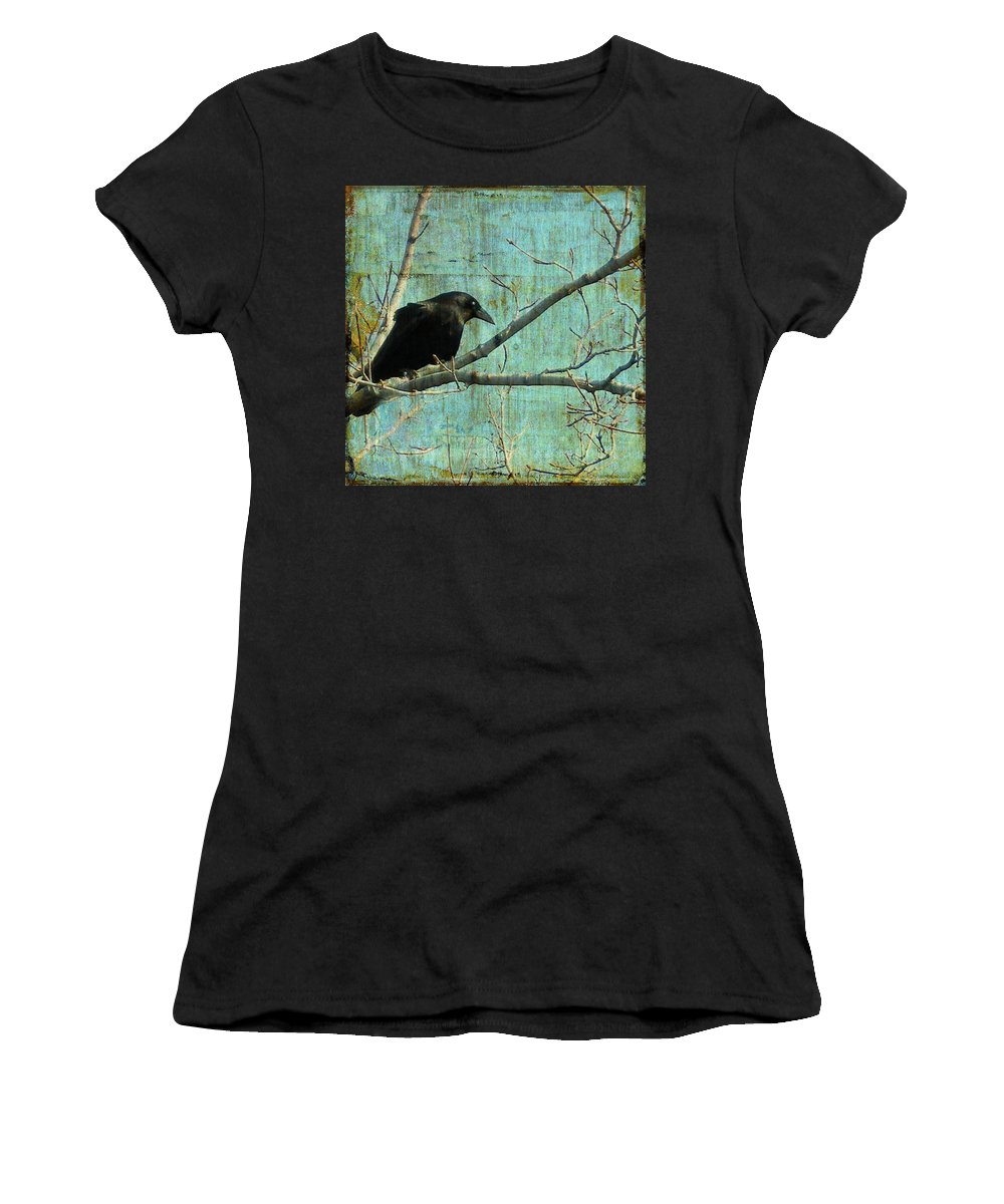 Vintage Blue Women's T-Shirt (Athletic Fit) featuring the digital art Retro Blue - Crow by Gothicrow Images