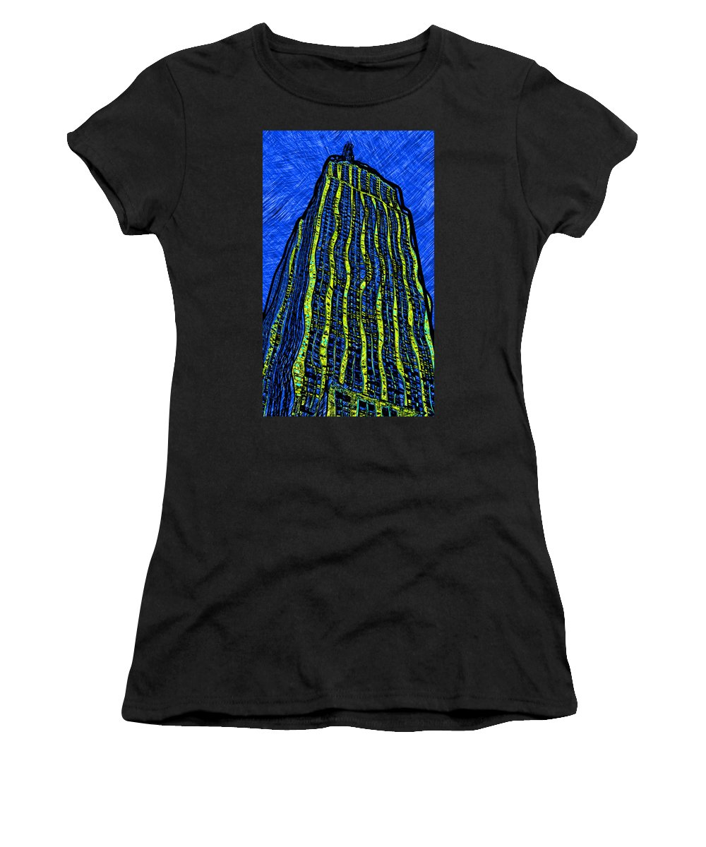 Empire Women's T-Shirt (Athletic Fit) featuring the digital art Retro Empire State Building by David G Paul