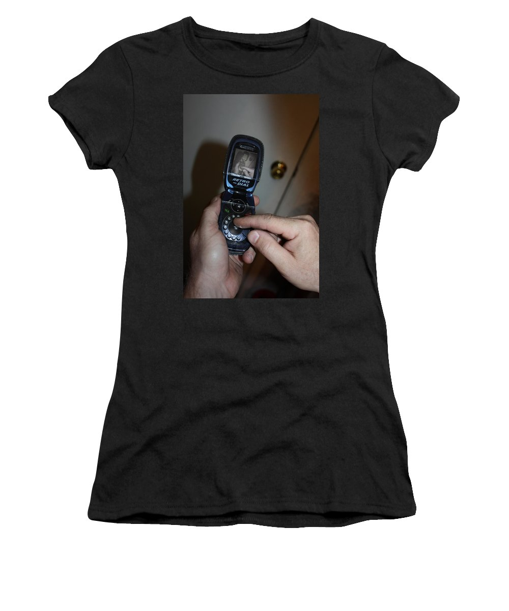 Phone Women's T-Shirt (Athletic Fit) featuring the photograph Retro Phone by Gravityx9  Designs