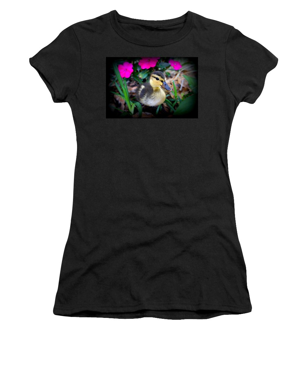 Duck Family Women's T-Shirt featuring the photograph Reynolds by Laurie Perry
