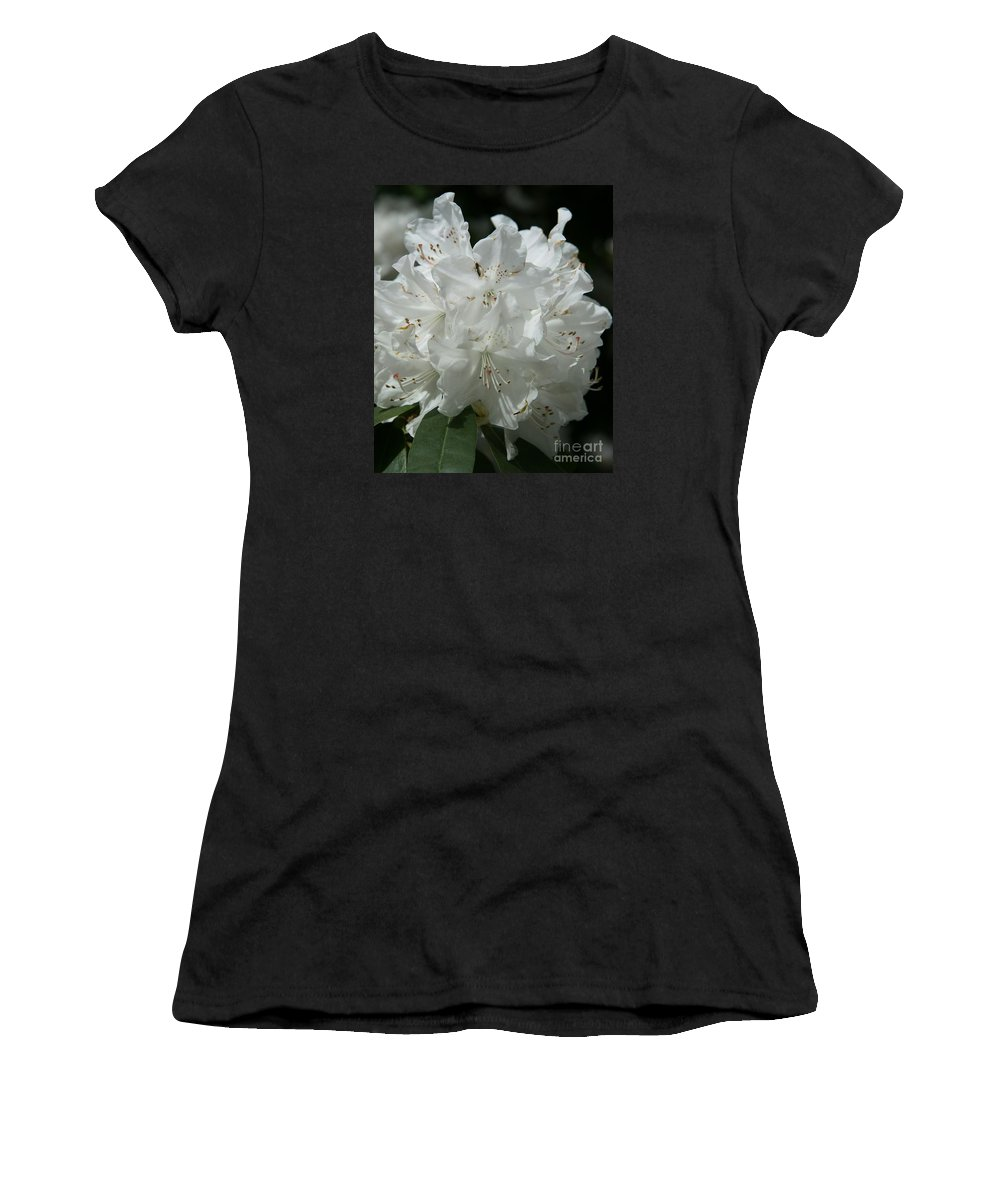 Rhododendron Women's T-Shirt (Athletic Fit) featuring the photograph Rhododendron Purity by Christiane Schulze Art And Photography