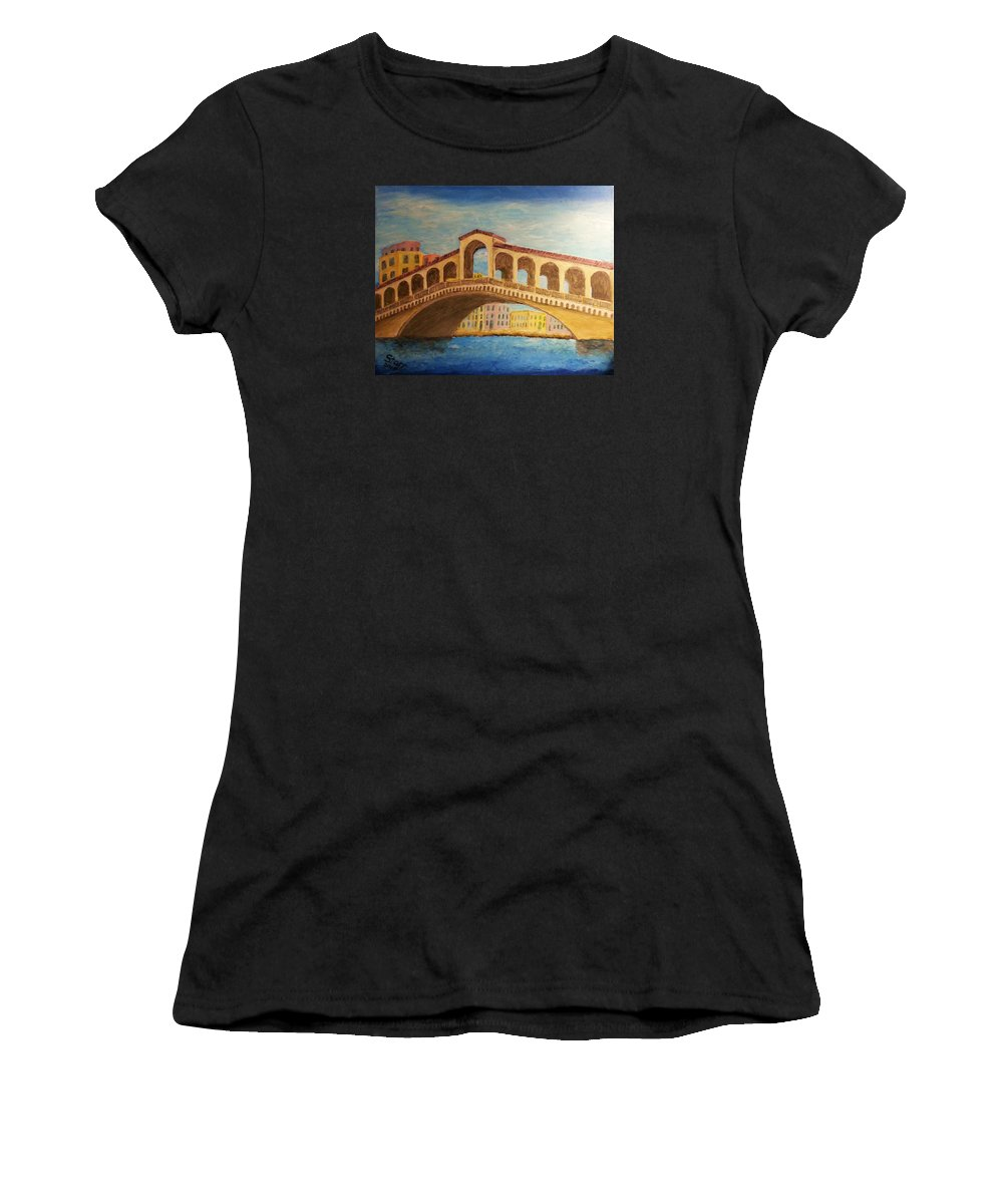 Rialto Women's T-Shirt featuring the painting Rialto Bridge by Irving Starr