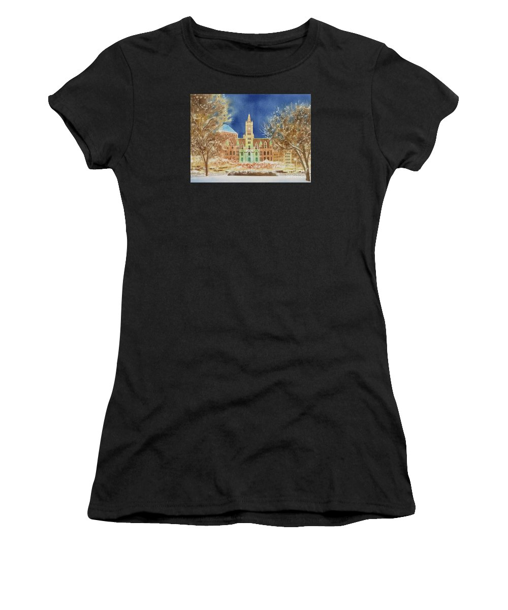 Rice Park Women's T-Shirt featuring the painting Rice Park Winter by Deborah Ronglien