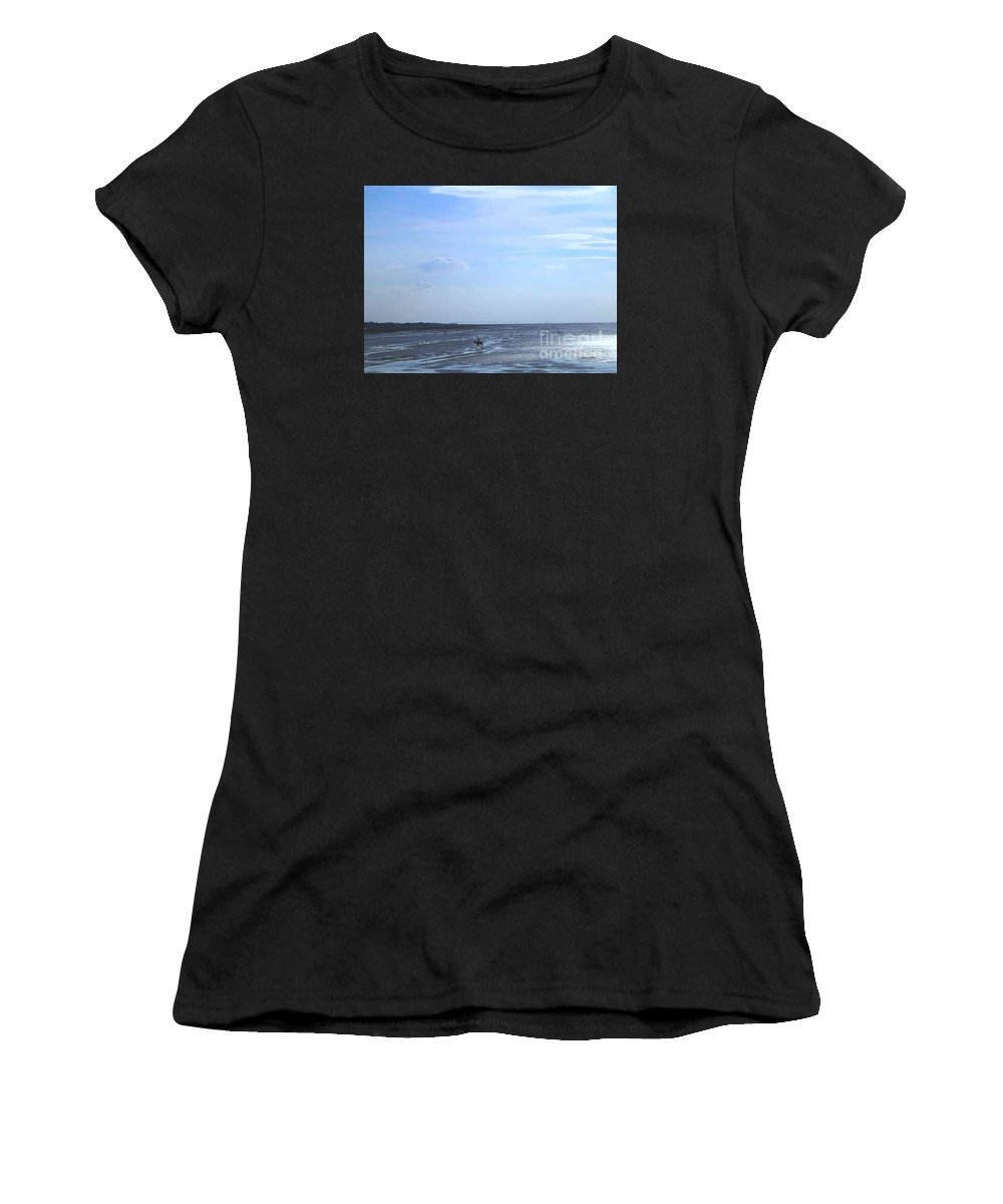 Seascape Women's T-Shirt (Athletic Fit) featuring the photograph Riding Through The Tide by Joan-Violet Stretch