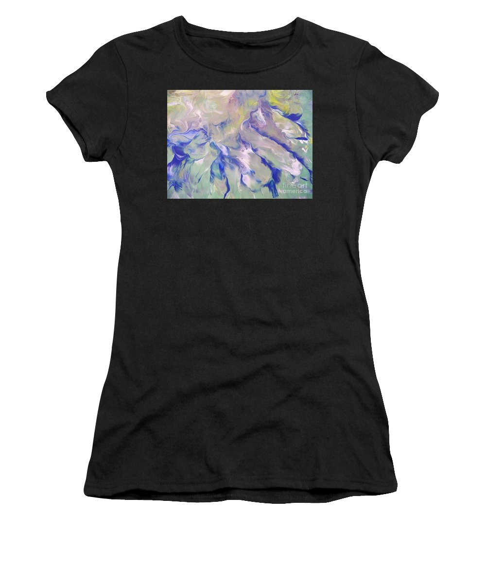 Abstract Women's T-Shirt featuring the painting Rippling Grace by Jewell McChesney