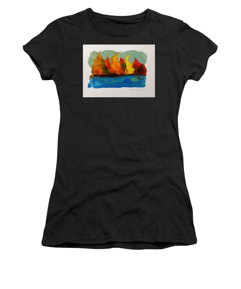 Colorful Landscape Women's T-Shirt featuring the drawing River Bank In Color by John Williams