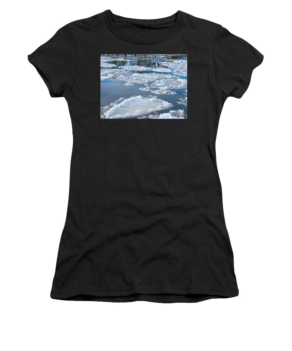 Ice Women's T-Shirt (Athletic Fit) featuring the photograph River Ice by Ann Horn