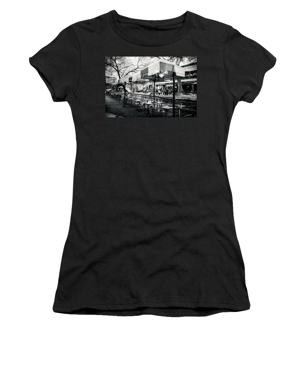 Downtown Women's T-Shirt (Athletic Fit) featuring the photograph River Walk Tables by Melinda Ledsome