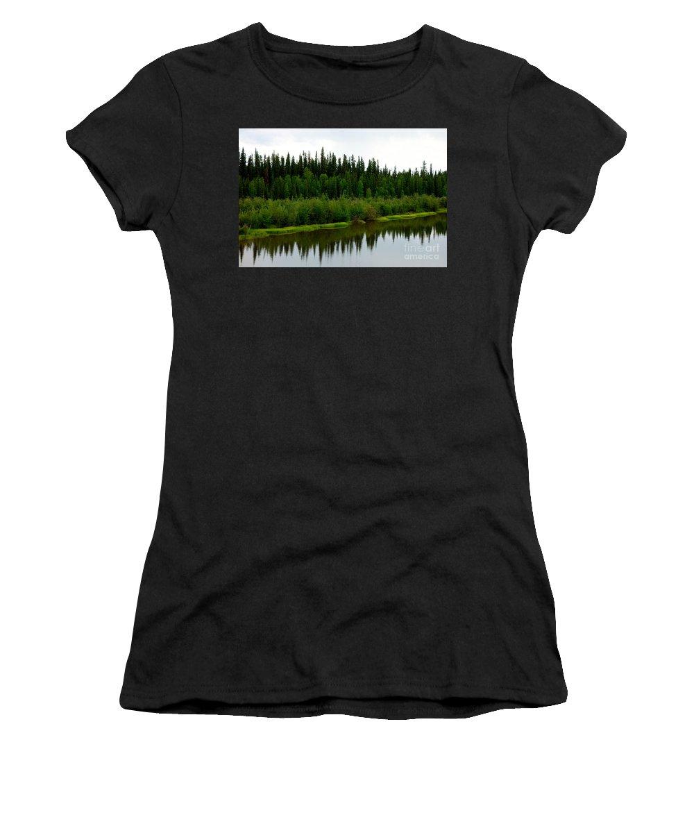 Alaska Women's T-Shirt featuring the photograph Riverbank Theater by Jacqueline Athmann