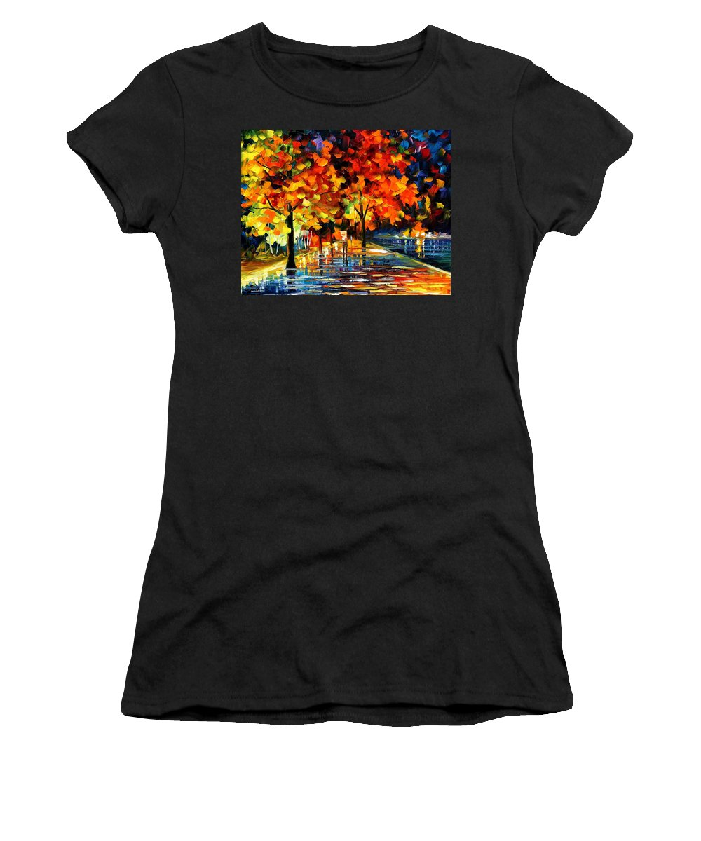 Oil Paintings Women's T-Shirt (Athletic Fit) featuring the painting Rivershore Park - Palette Knife Oil Painting On Canvas By Leonid Afremov by Leonid Afremov