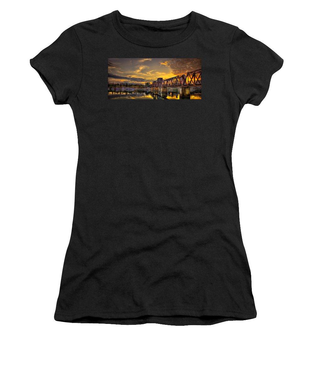 Reid Callaway Sixth Street Bridge Images Women's T-Shirt (Athletic Fit) featuring the photograph 6th Street Sunset Augusta Georgia Riverwalk Marina Art by Reid Callaway