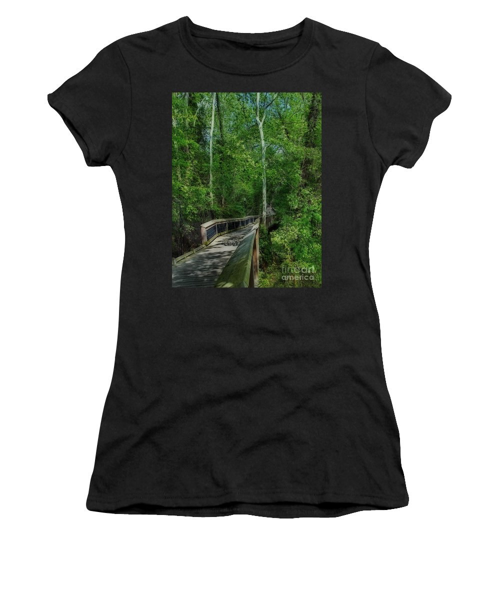 Scenic Tours Women's T-Shirt (Athletic Fit) featuring the photograph Riverwalk by Skip Willits