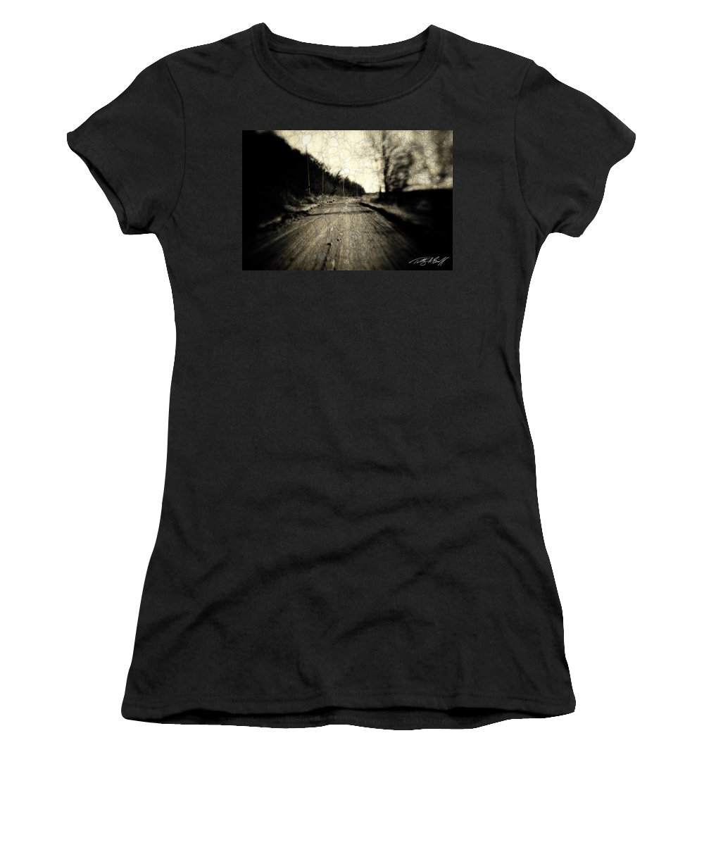 B&w Women's T-Shirt (Athletic Fit) featuring the photograph Road Of The Past by Timothy Bischoff