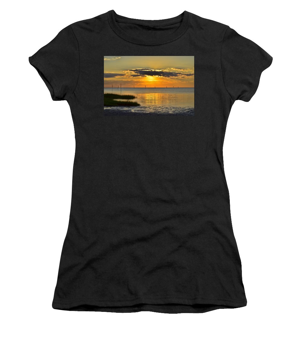 Sunset Women's T-Shirt (Athletic Fit) featuring the photograph Rock Harbor Sunset 2 by Allen Beatty