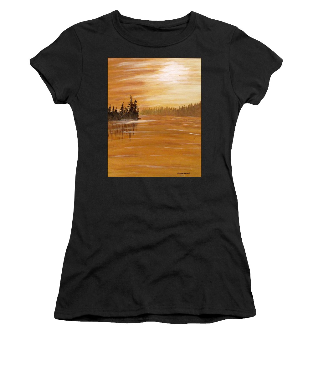 Northern Ontario Women's T-Shirt (Athletic Fit) featuring the painting Rock Lake Morning 1 by Ian MacDonald