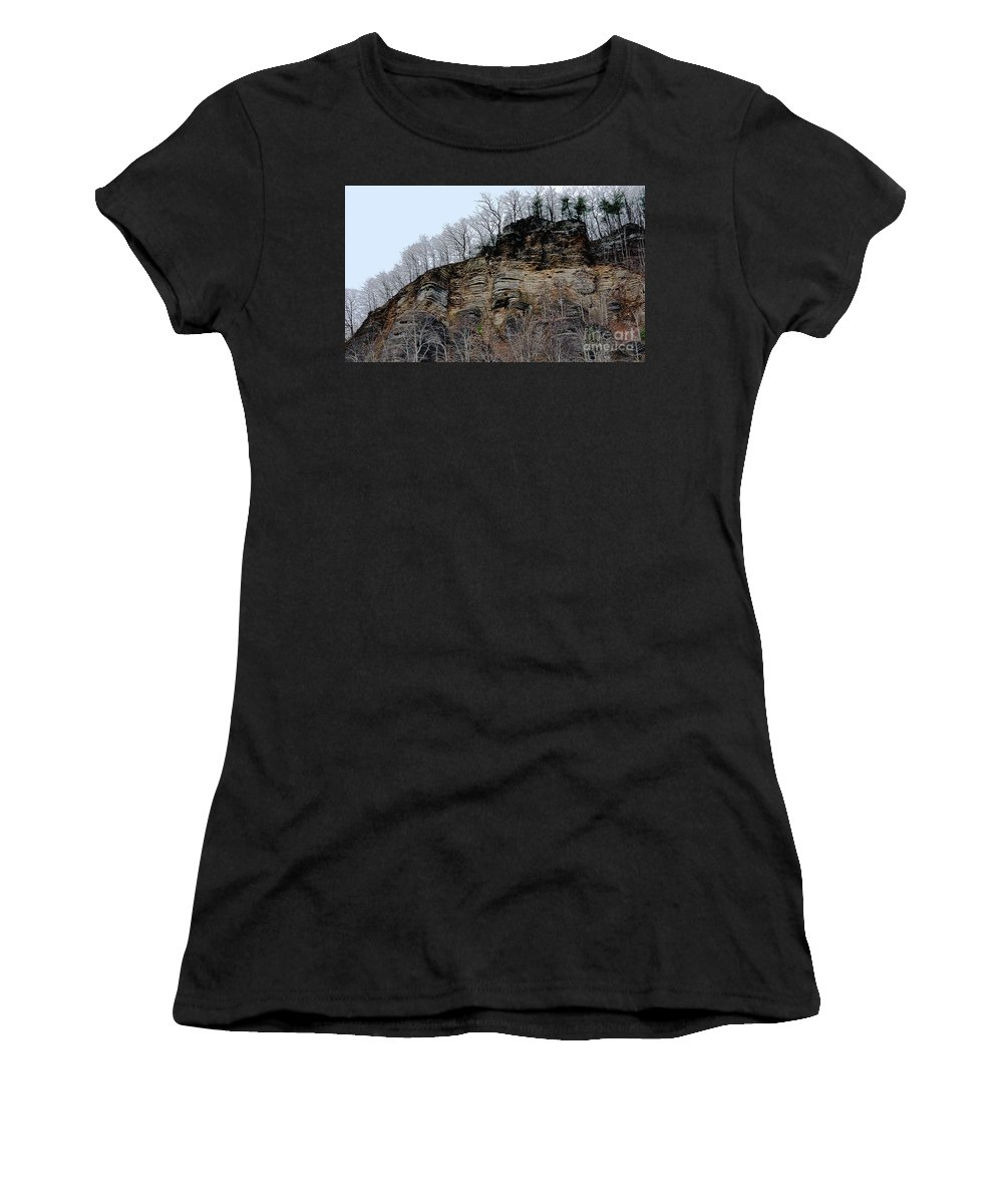 Rock Of Many Faces Women's T-Shirt (Athletic Fit) featuring the photograph Rock Of Many Faces by Lydia Holly