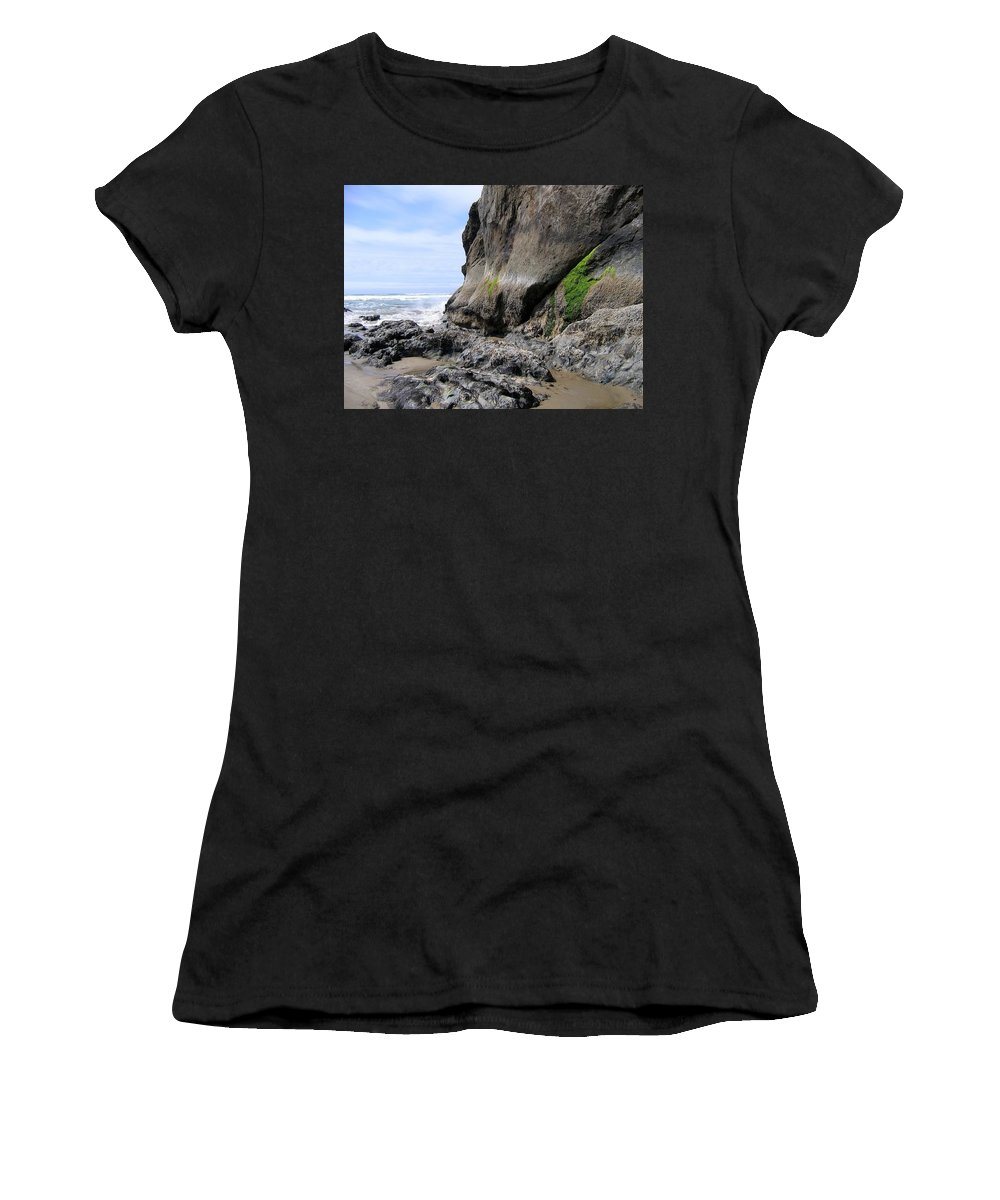 Rocks At Arcadia Beach Women's T-Shirt (Athletic Fit) featuring the photograph Rocks At Arcadia Beach by Will Borden