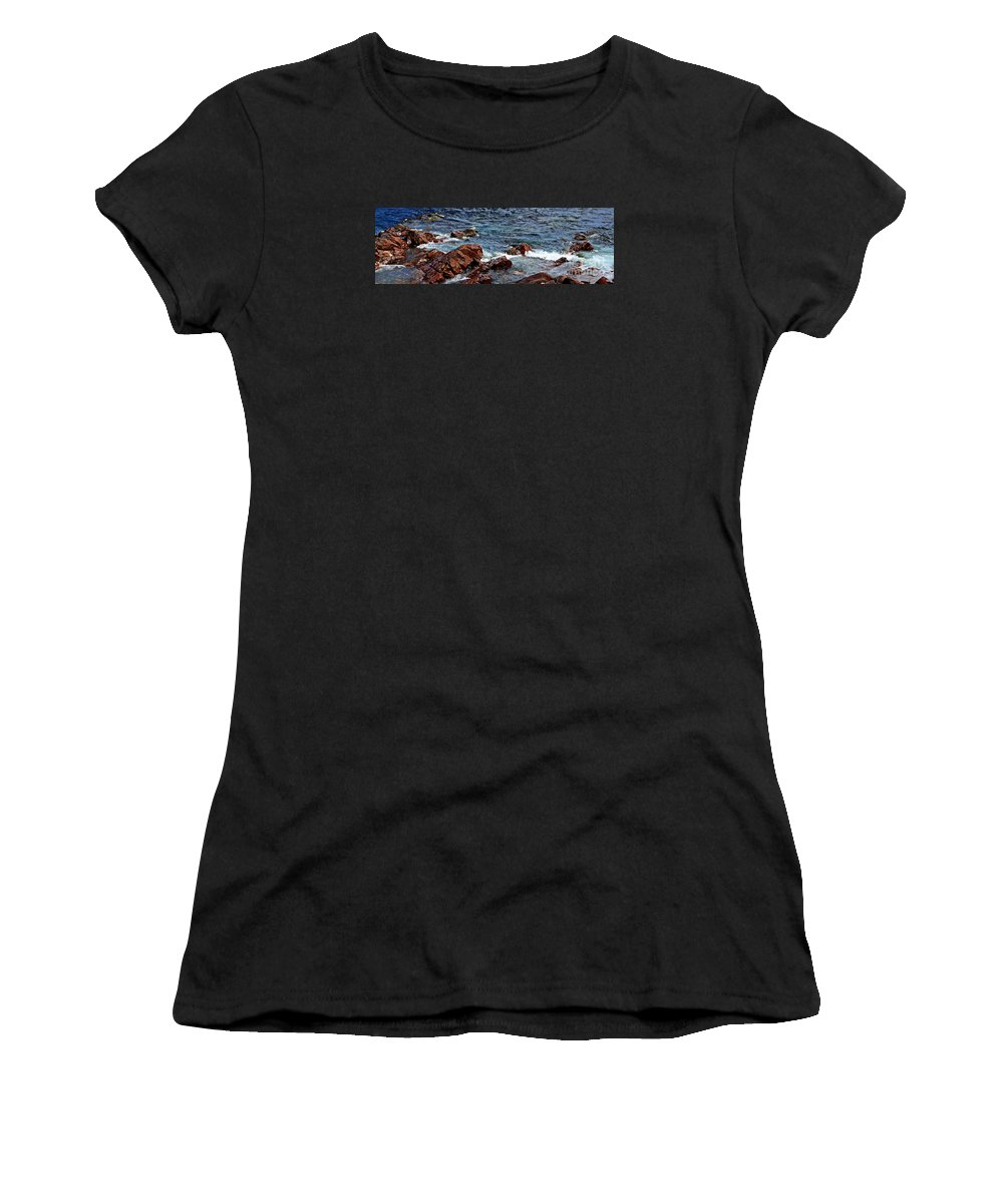 Barbara Griffin Women's T-Shirt featuring the photograph Rocky Shoreline - Coast - Painterly Effects - Panorama by Barbara Griffin