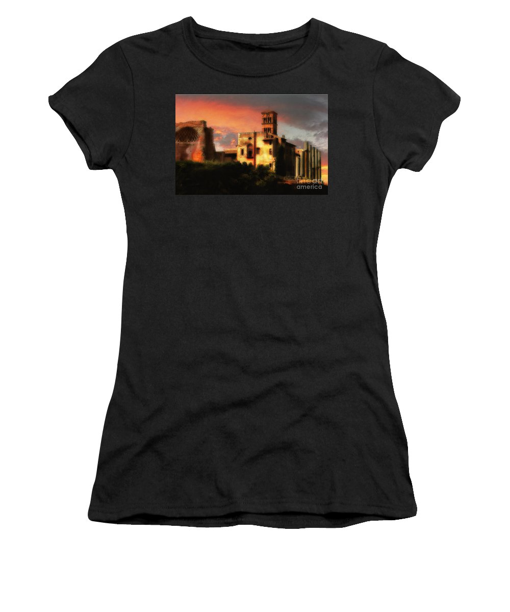 The Forum Women's T-Shirt featuring the photograph Roman Forum At Sunset by Mike Nellums
