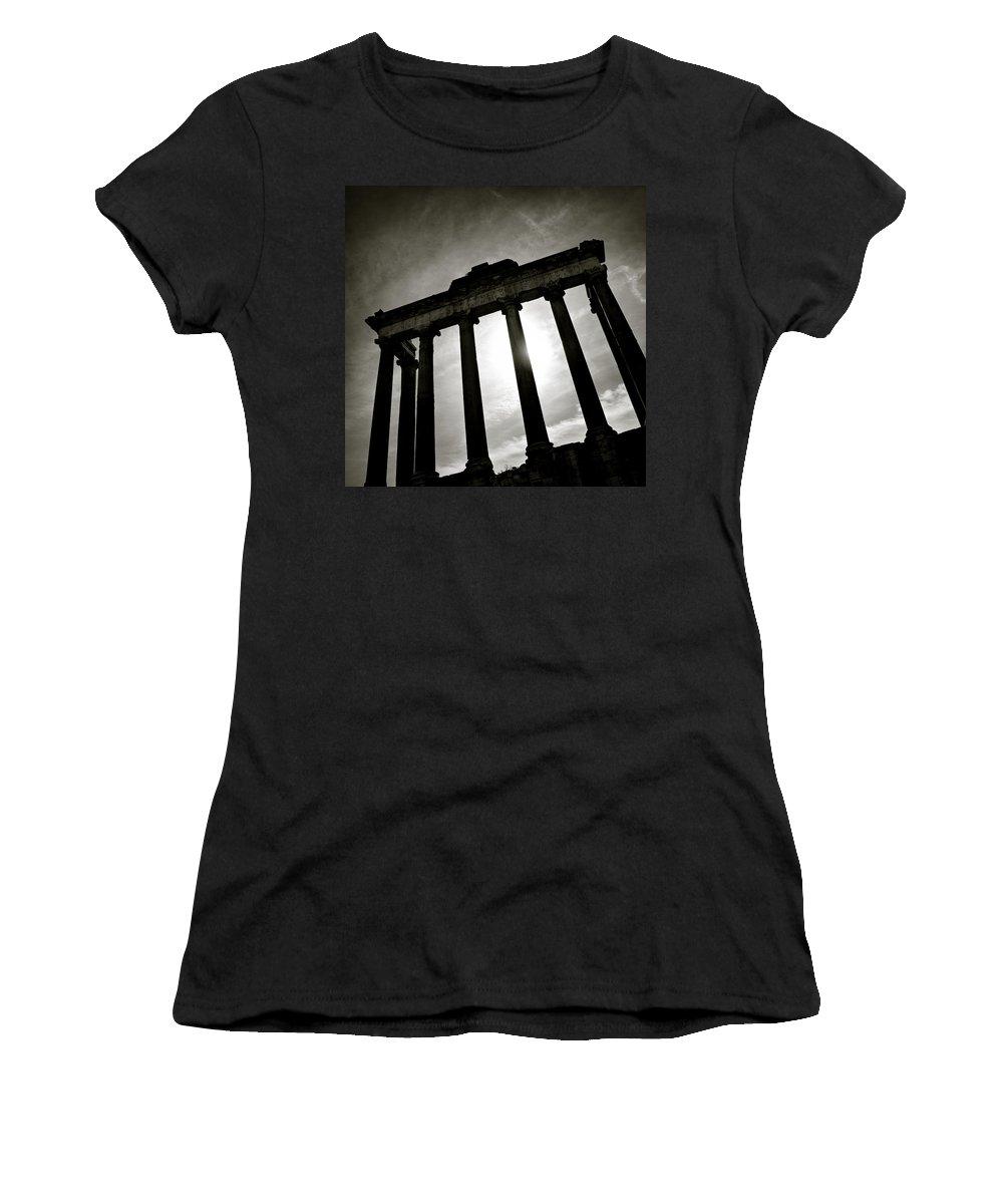 Roman Forum Women's T-Shirt (Athletic Fit) featuring the photograph Roman Forum by Dave Bowman