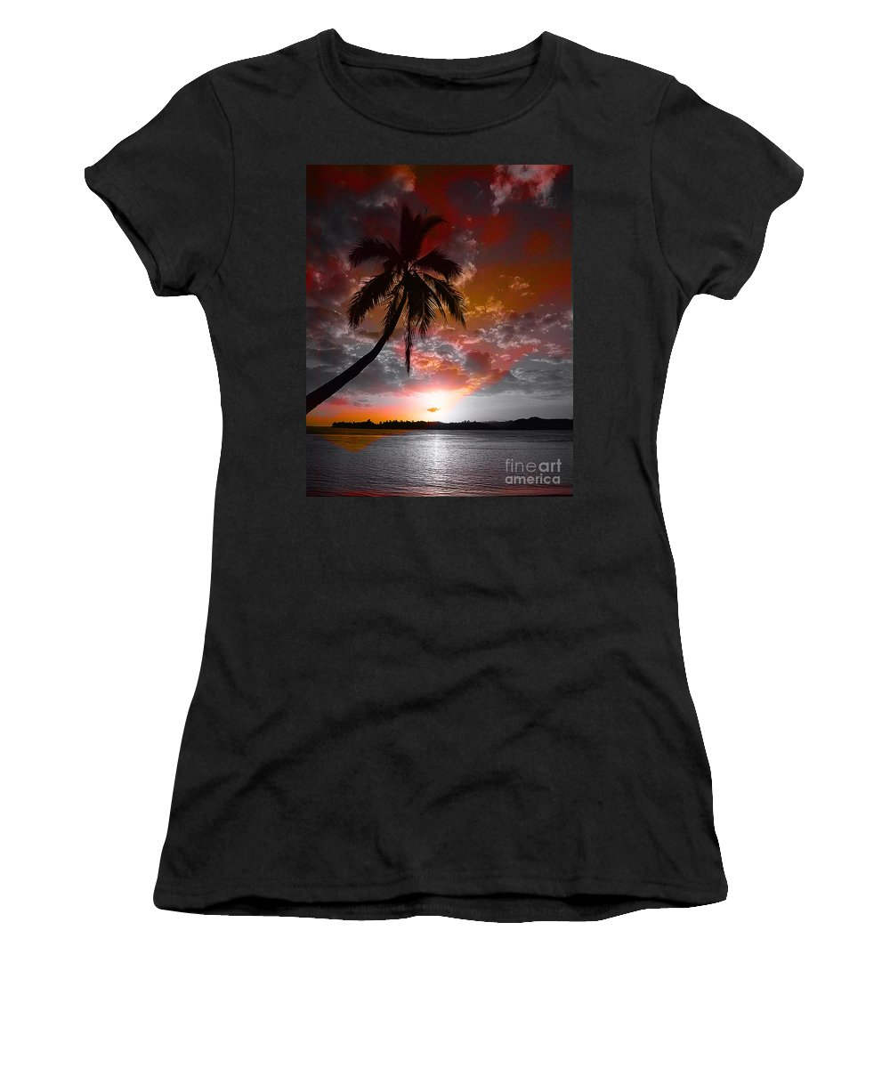 Palm Tree Image Women's T-Shirt (Athletic Fit) featuring the digital art Romance II by Yael VanGruber