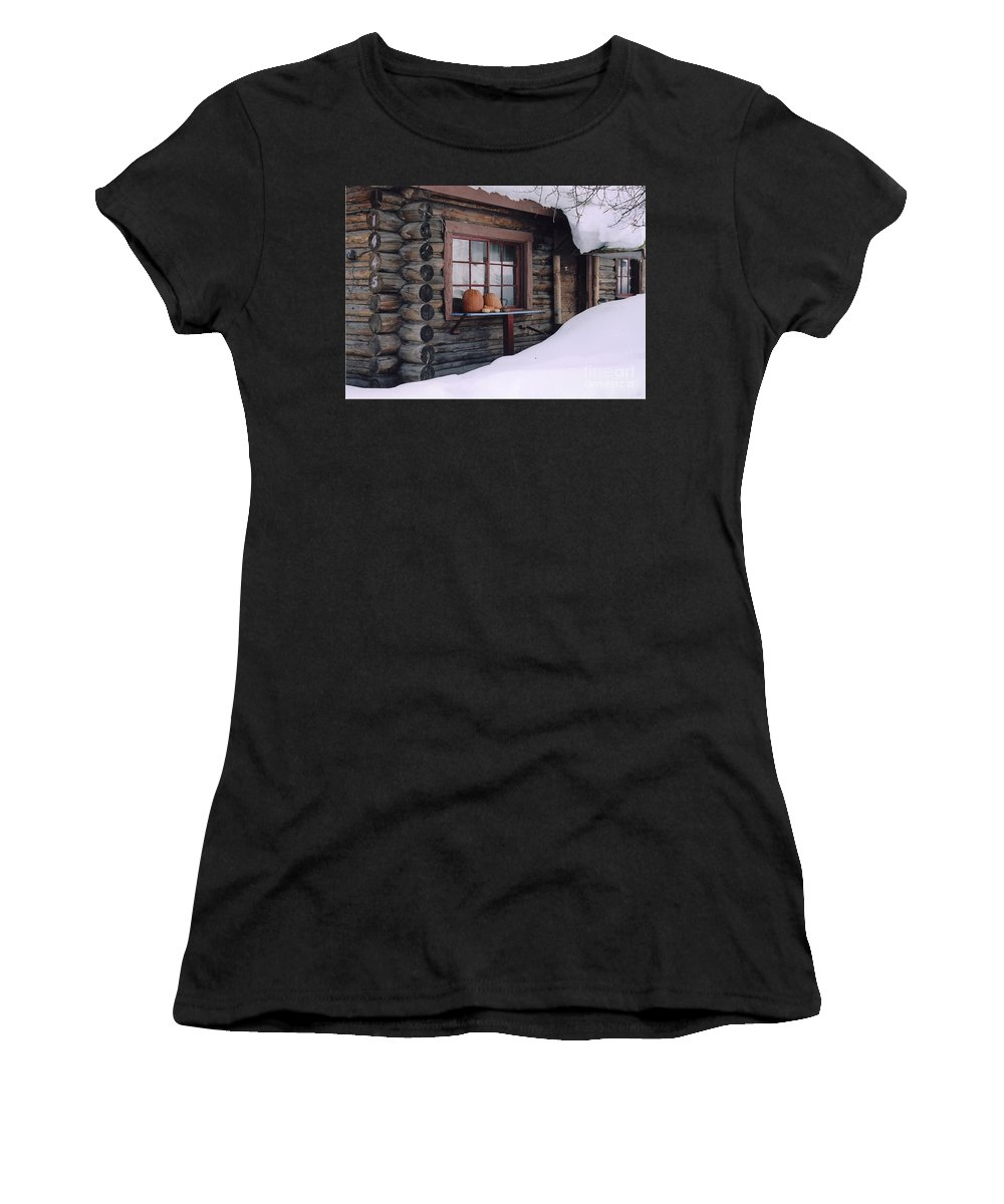 Montana Women's T-Shirt (Athletic Fit) featuring the photograph Cabin In The Woods by Jeffery Akerson