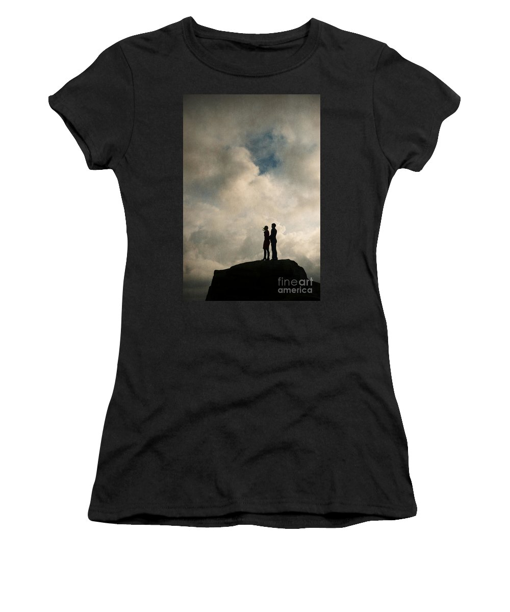 Couple Women's T-Shirt (Athletic Fit) featuring the photograph Romantic Couple On A Mountain Peak by Lee Avison