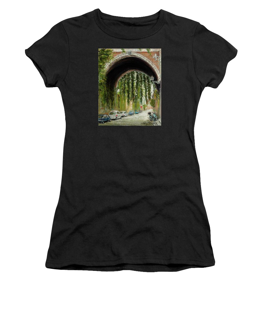 Pastel Women's T-Shirt featuring the painting Rome Street Scene by Mary Benke