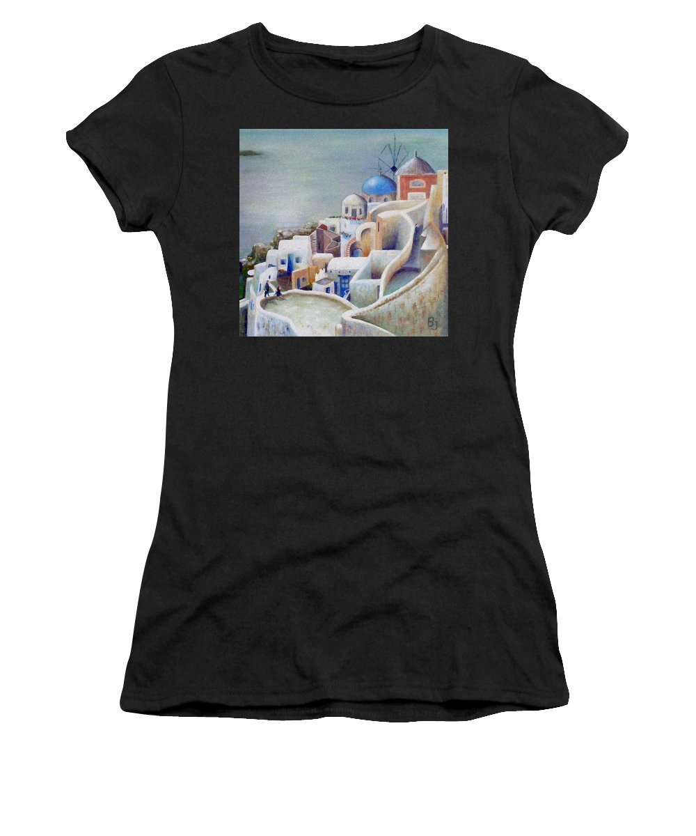 Santorini Women's T-Shirt (Athletic Fit) featuring the painting Rooftops And Terraces Of Santorini Island In Greece by Barbara Jacquin