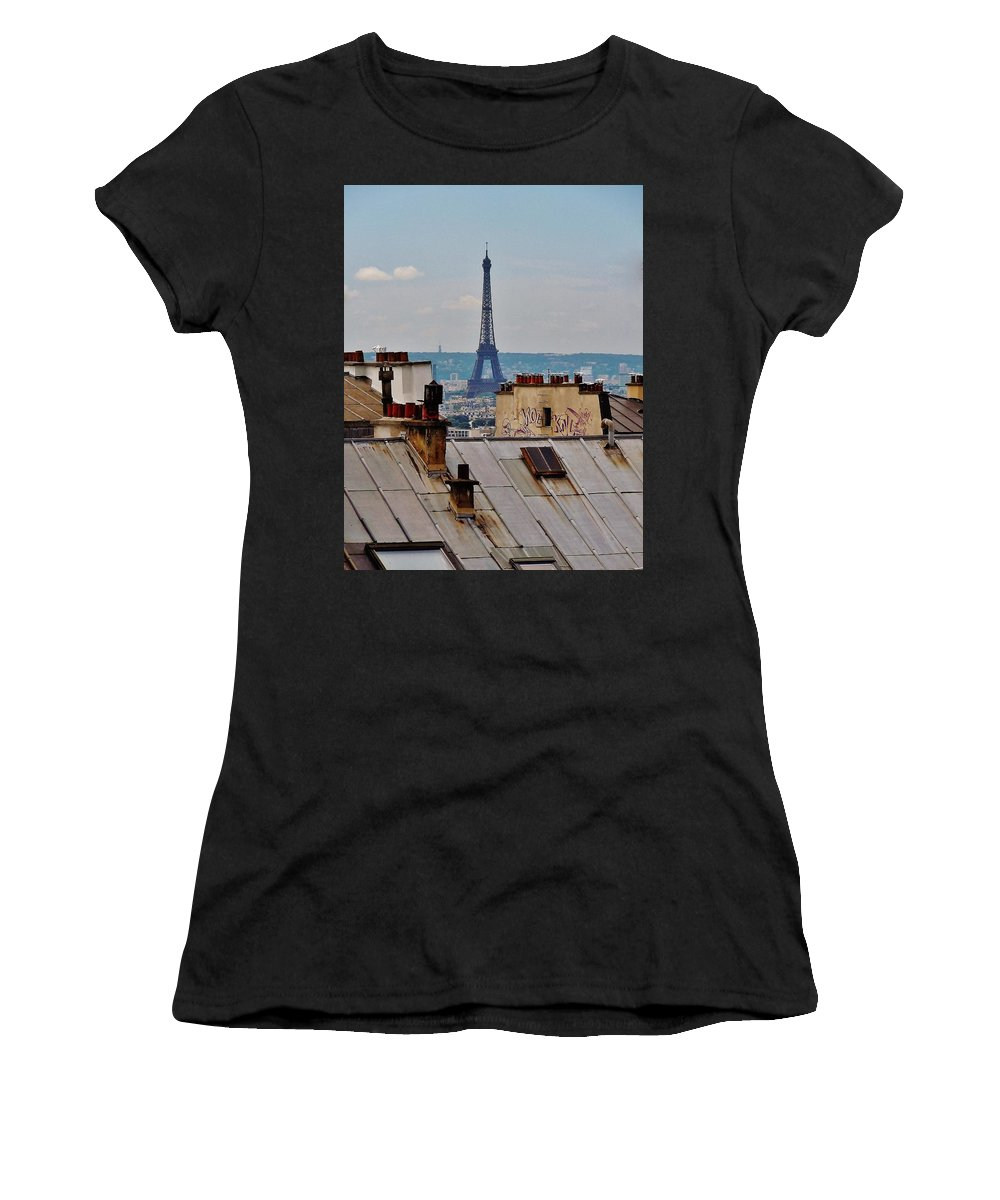 Paris Women's T-Shirt featuring the photograph Rooftops Of Paris And Eiffel Tower by Marilyn Dunlap