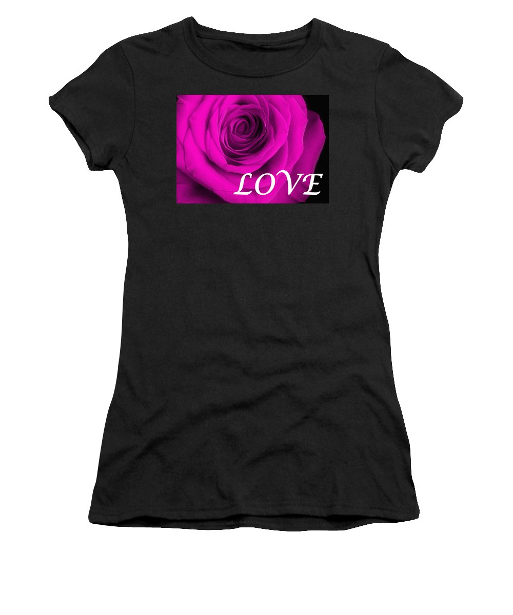 Rose Women's T-Shirt (Athletic Fit) featuring the photograph Rose 16 Love by Matthew Howard