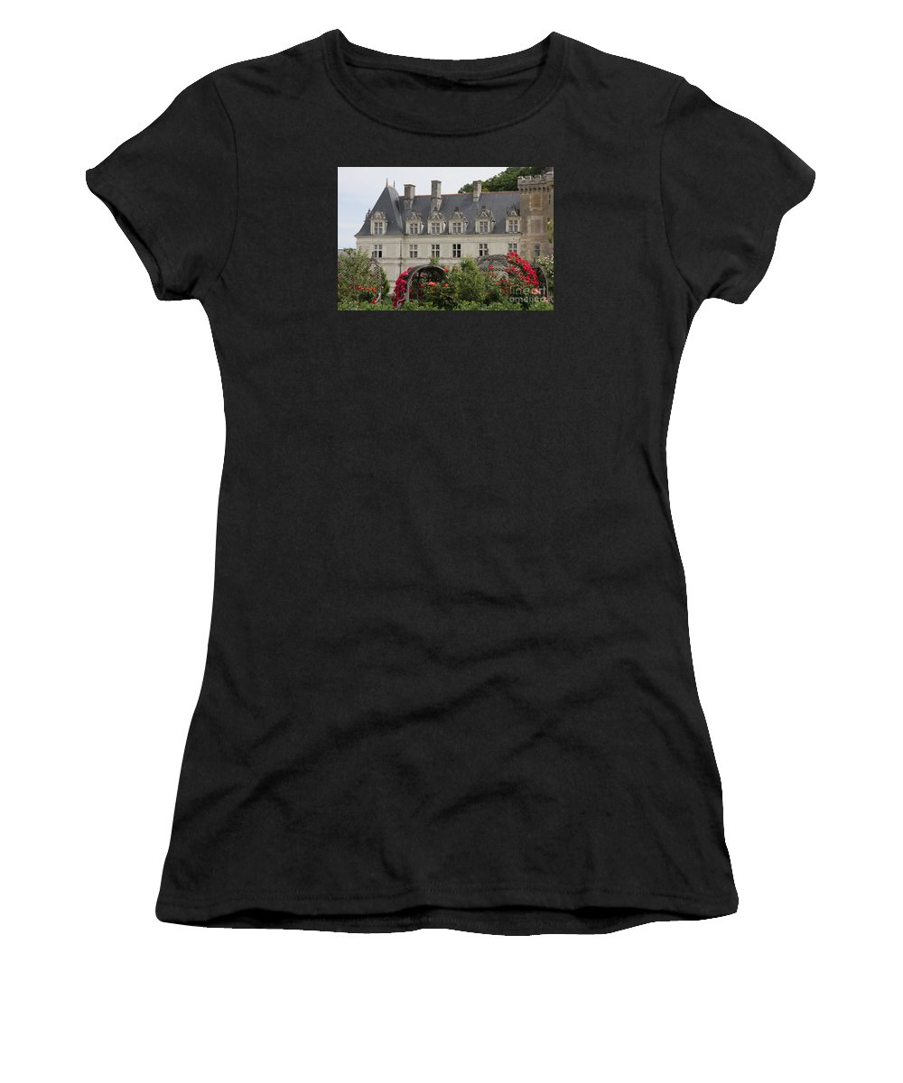 Roses Women's T-Shirt (Athletic Fit) featuring the photograph Rose And Cabbage Garden Chateau Villandry by Christiane Schulze Art And Photography