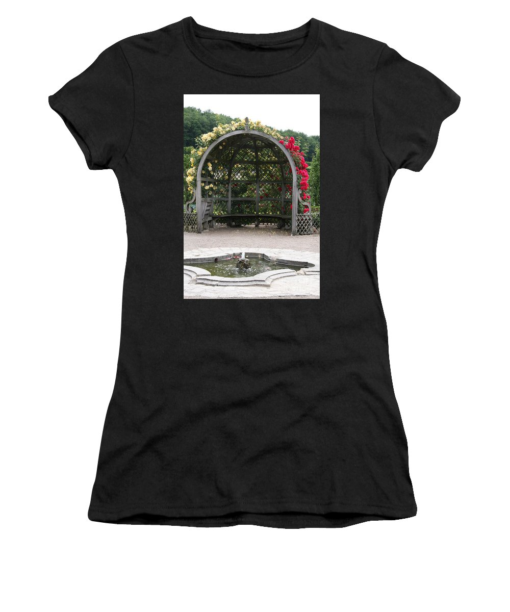 Roses Women's T-Shirt (Athletic Fit) featuring the photograph Rose Pavilion At Chateau Villandry by Christiane Schulze Art And Photography