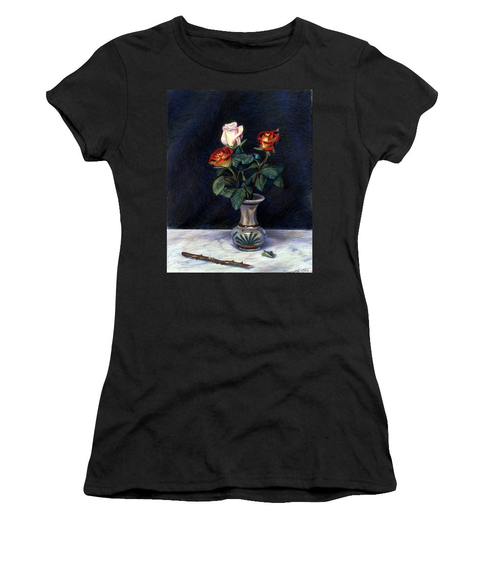 Floral Women's T-Shirt featuring the pastel Rose by Kenneth Cobb