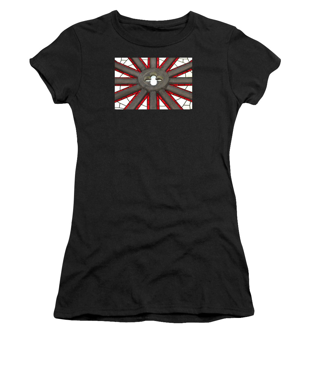 Santa Barbara Women's T-Shirt (Athletic Fit) featuring the photograph Rose Window Closeup by Art Block Collections