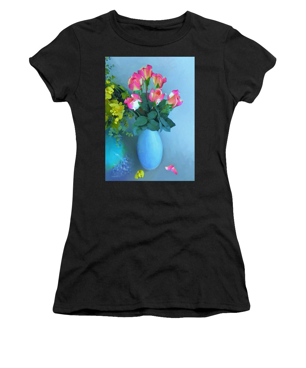 Roses Women's T-Shirt featuring the painting Roses And Flowers In A Vase by Susanna Katherine