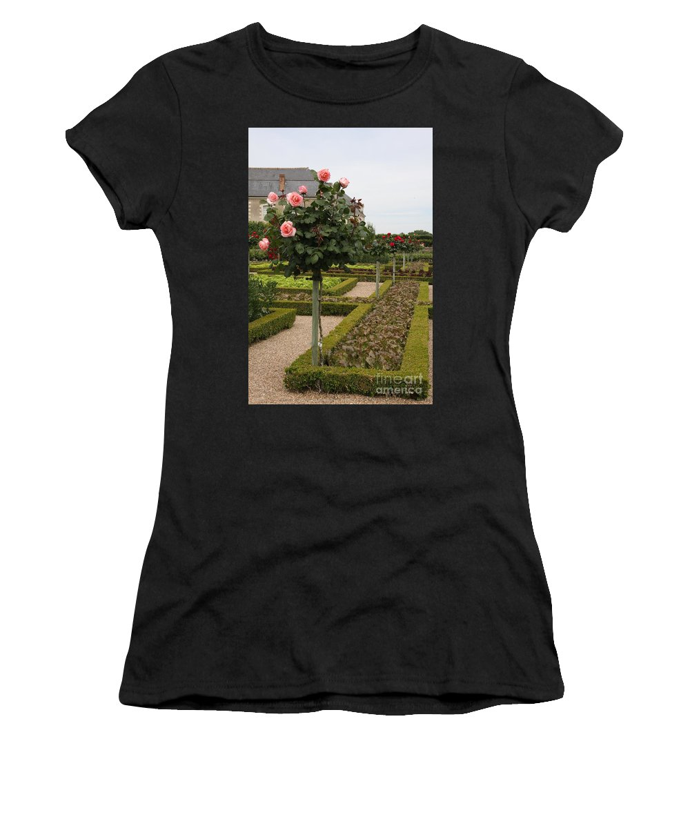 Roses Women's T-Shirt (Athletic Fit) featuring the photograph Roses And Salad - Chateau Villandry by Christiane Schulze Art And Photography