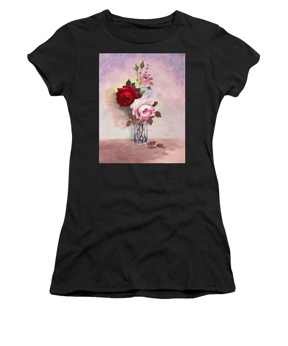 Flowers Women's T-Shirt (Athletic Fit) featuring the painting Roses In Glass by Chuck Adams