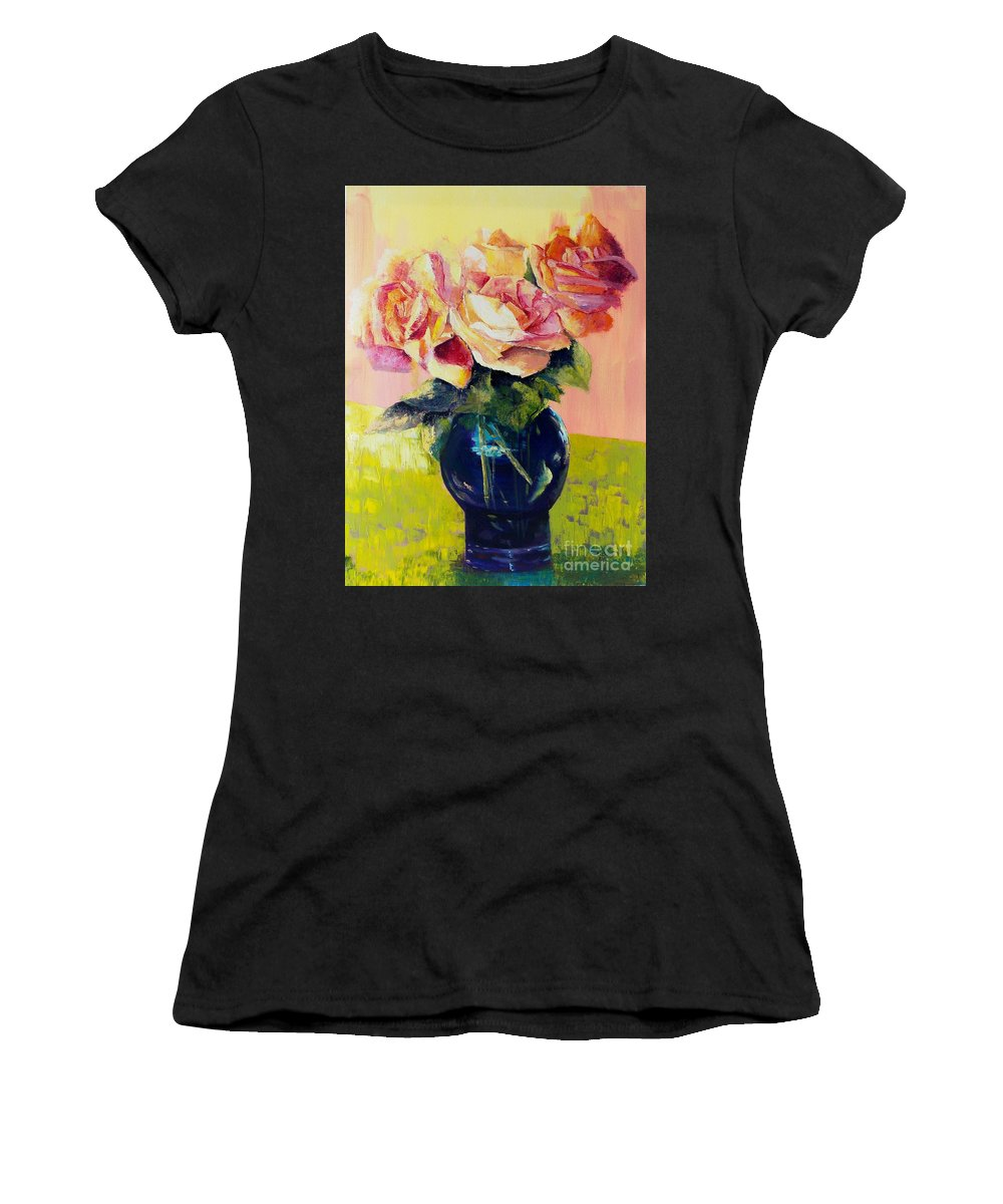 Still Life Women's T-Shirt (Athletic Fit) featuring the painting Roses by Marlene Book