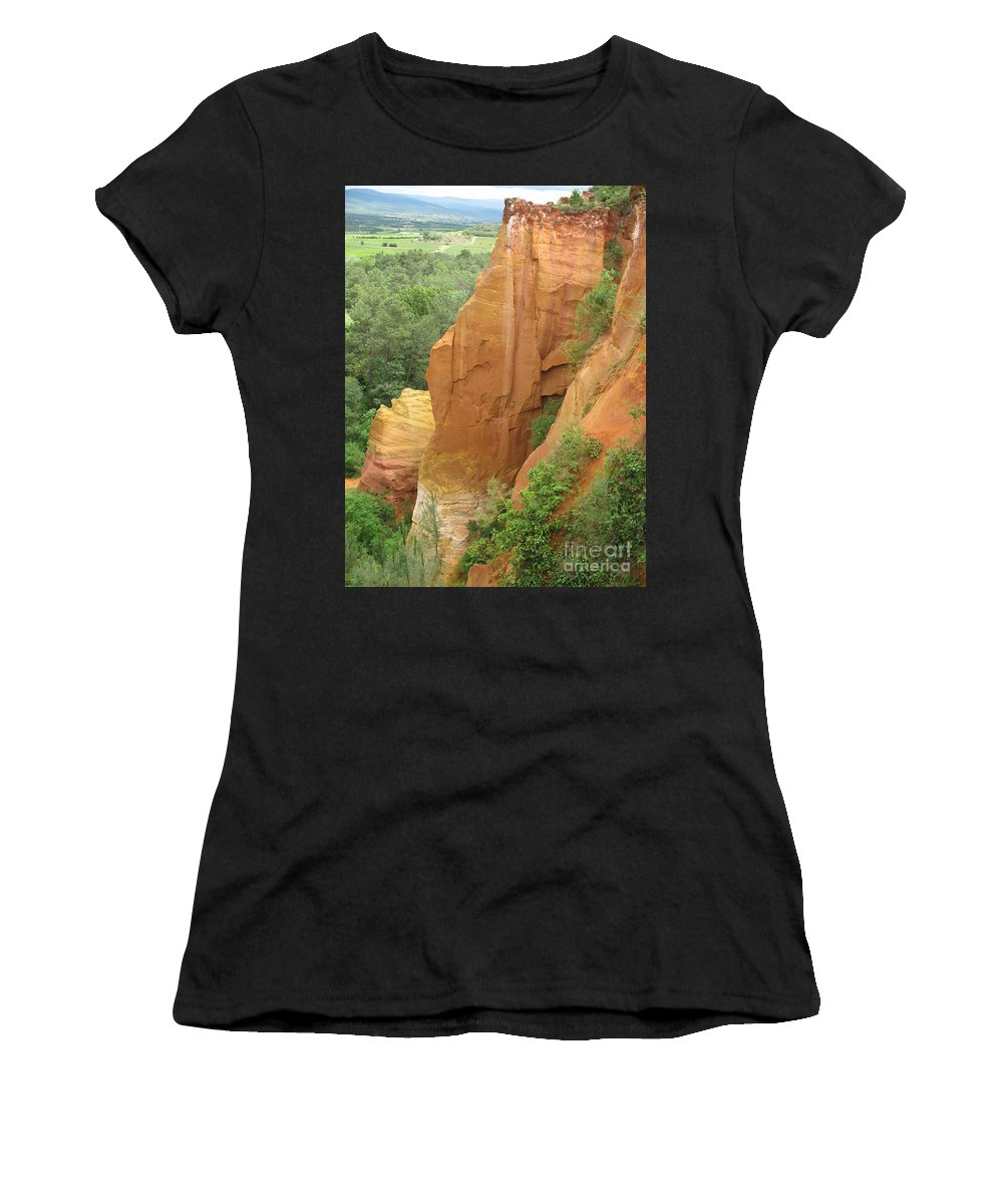 Red Rocks Women's T-Shirt (Athletic Fit) featuring the photograph Roussillon - Red Rocks by Christiane Schulze Art And Photography