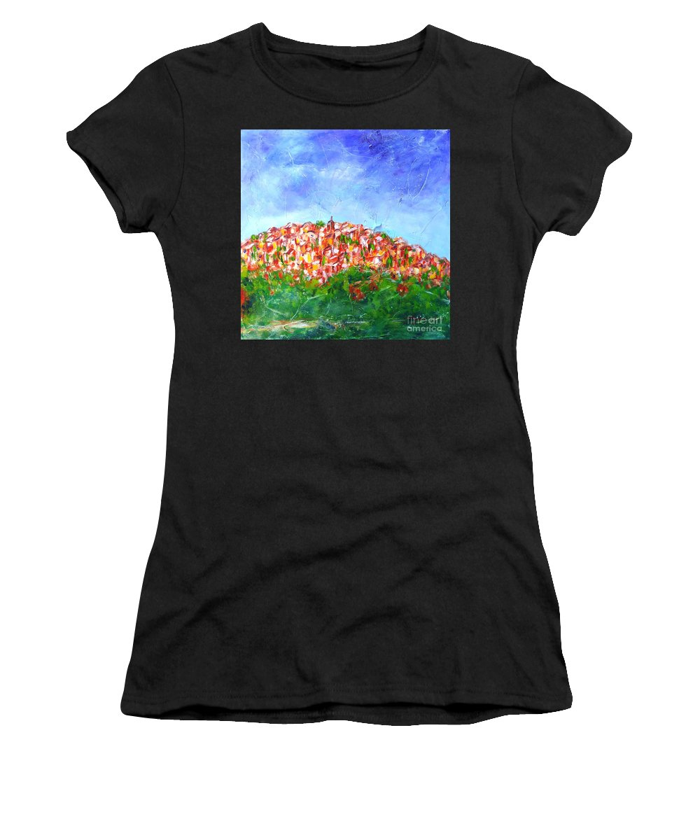 Provence Women's T-Shirt featuring the painting Roussillon Village by Cristina Stefan