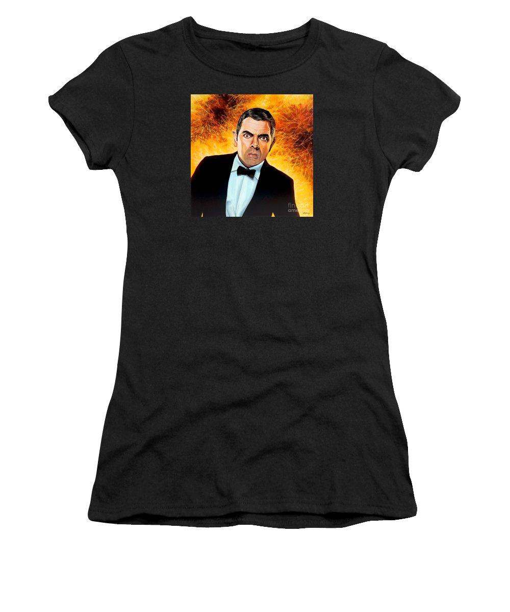 Rowan Atkinson Women's T-Shirt featuring the painting Rowan Atkinson Alias Johnny English by Paul Meijering