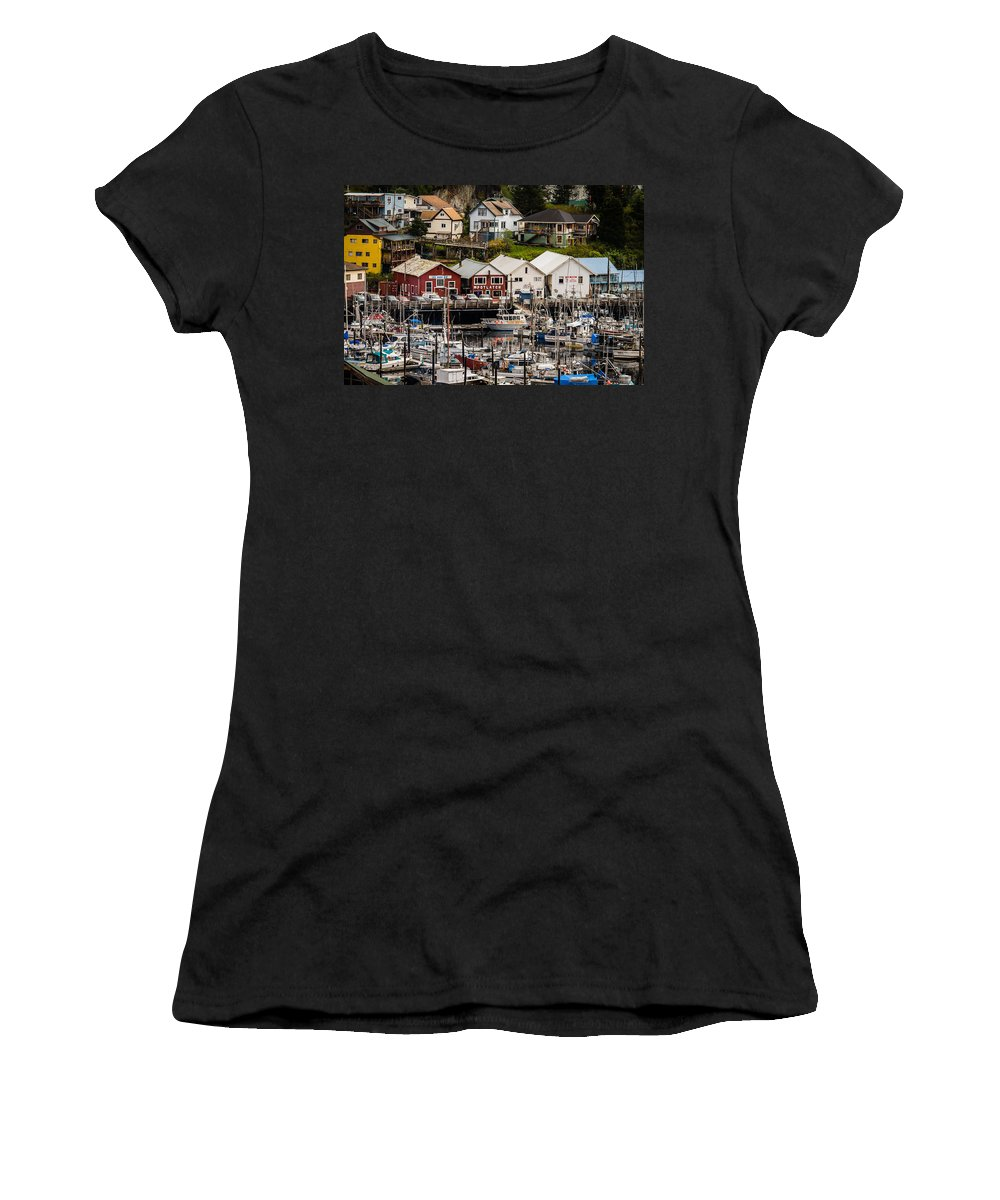 Transportation Women's T-Shirt featuring the photograph Rows Of Houses And Sails by Melinda Ledsome