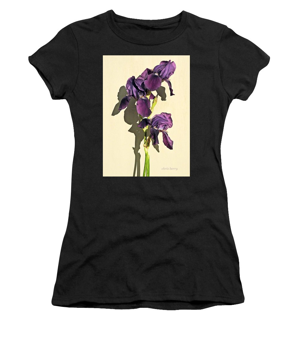 Iris Women's T-Shirt (Athletic Fit) featuring the photograph Royal Purple Iris Still Life by Chris Berry