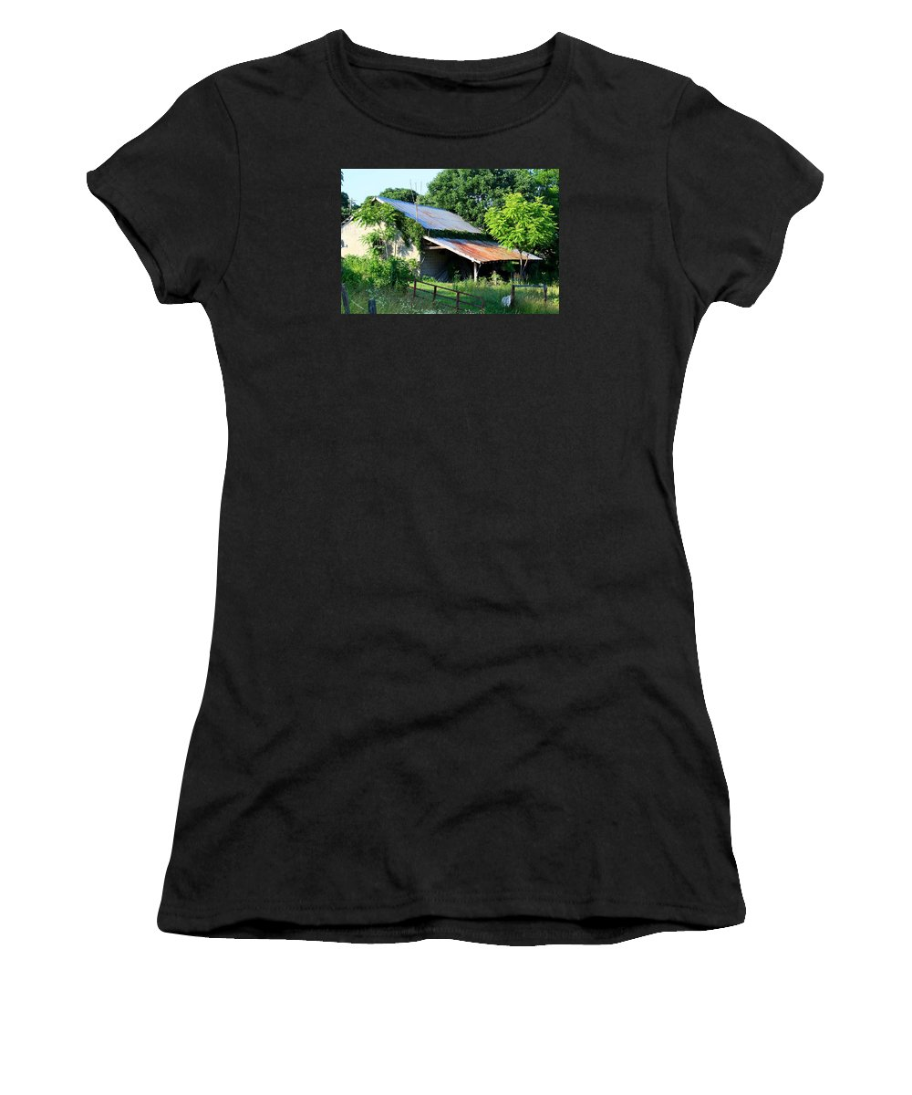 Garage Women's T-Shirt featuring the photograph Ruins Of Old Garage by Kathryn Meyer