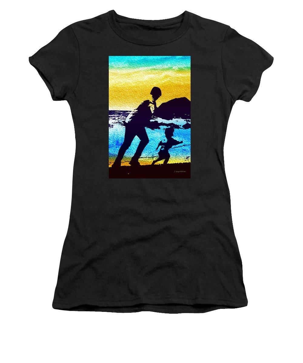 Daddy Women's T-Shirt (Athletic Fit) featuring the digital art Run Daddy Run by Jo-Anne Gazo-McKim