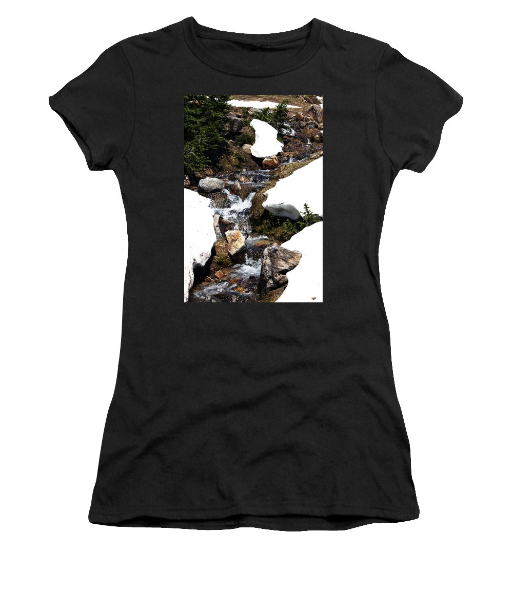 Mountain River Women's T-Shirt featuring the photograph Running Down The Mountain by Edward Hawkins II