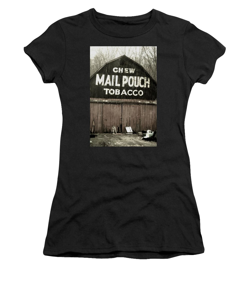 Old Barn Tobacco Ads Brown County Women's T-Shirt (Athletic Fit) featuring the photograph Rustic Barn by Michael Cressy